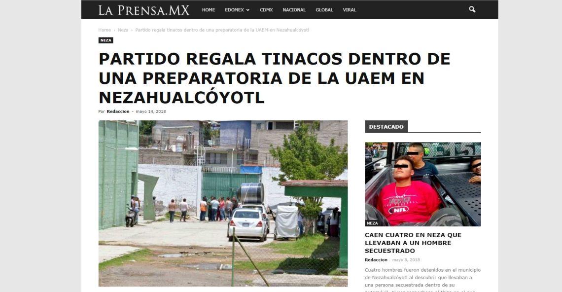 2018-05-14 19_53_16-Partido regala tinacos dentro de una preparatoria de la UAEM en Nezahualcóyotl