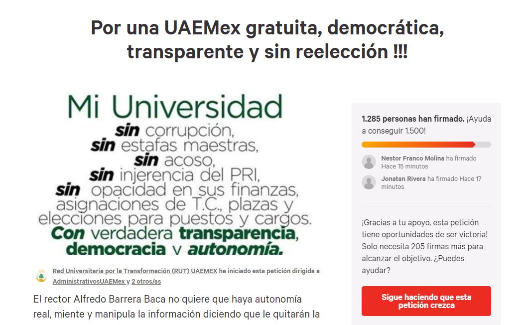 2019-04-07 20_22_30-Petición · AdministrativosUAEMex_ Por una UAEMex gratuita, democrática, transpar