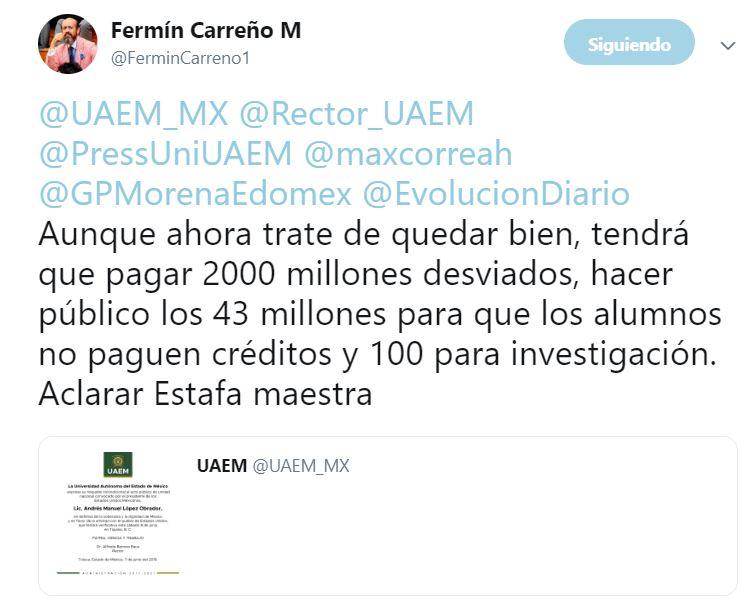 2019-06-07 20_10_15-Fermín Carreño M en Twitter_ _@UAEM_MX @Rector_UAEM @PressUniUAEM @maxcorreah @G